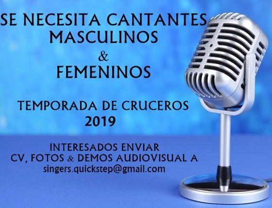 Cantantes masculinos y femeninos para CRUCEROS 2019