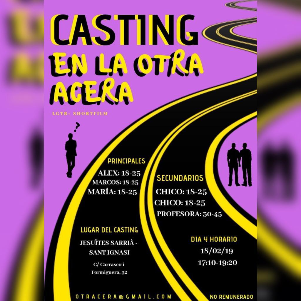 """Varios perfiles para Corto """"EN LA OTRA ACERA"""" en BARCELONA"""