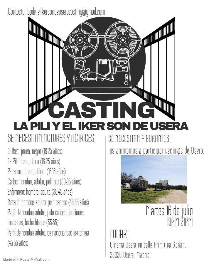 Actores y actrices 16 a 55 años de varios perfiles para rodaje «La Pili y el Iker son de Usera» en Madrid