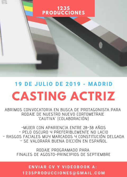 Actriz 28 a 38 ñaos Protagonista Cortometraje «Cautiva» en Madrid