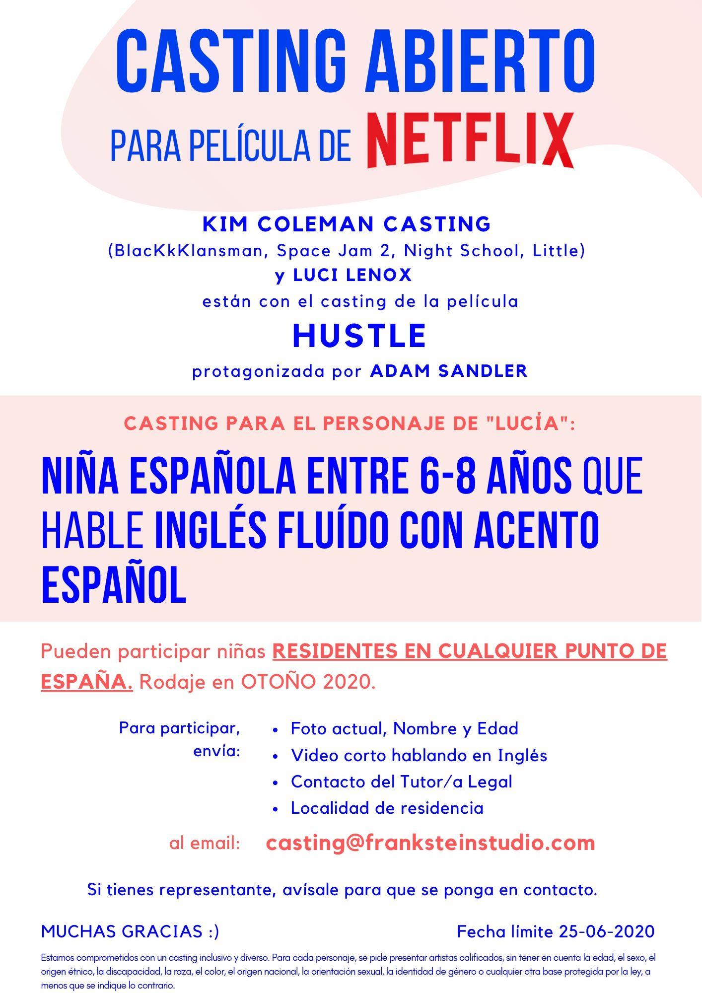 Niña española de 6 a 8 años que hable inglés para película «HUSTLE» (Netflix)