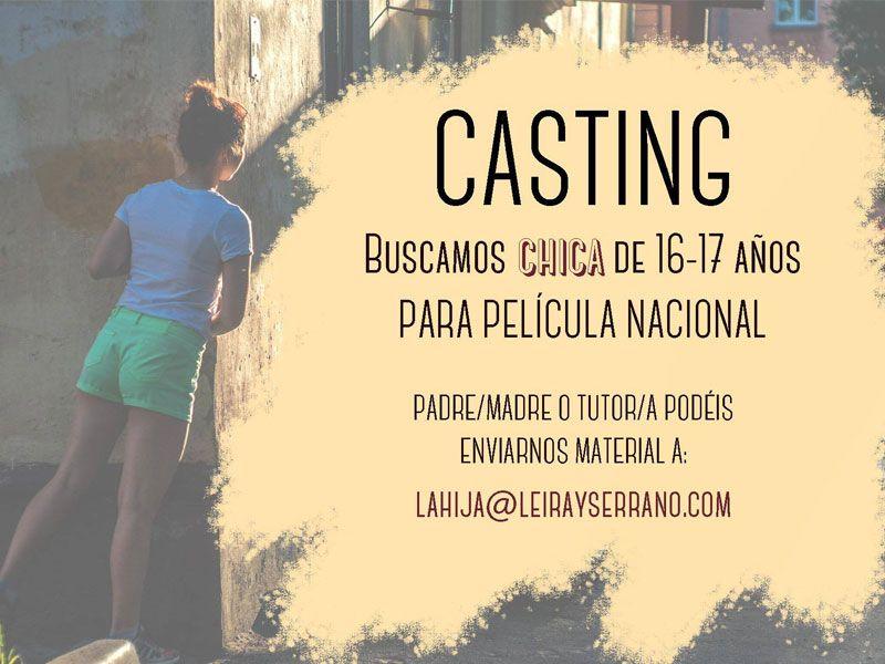Chica 16 a 17 años para Largometraje Nacional