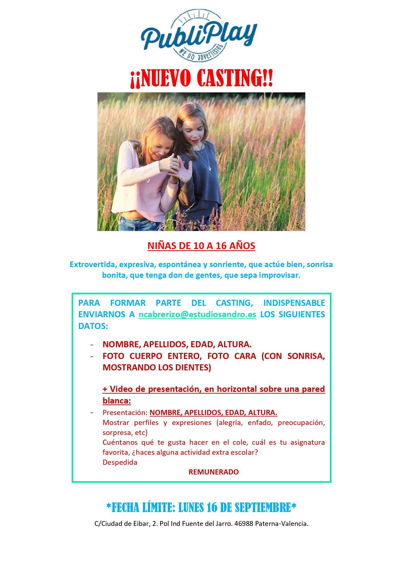 Niñas de 10 a 16 años para rodaje en Valencia