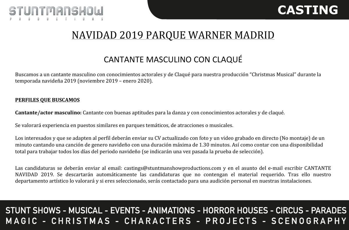 Cantante y actor para musical de Navidad con claqué en Parque Warner Madrid