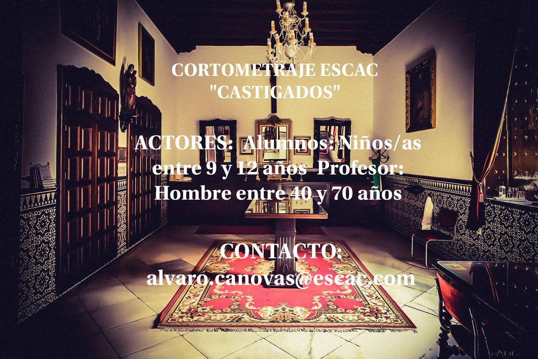 Actor/actriz 40 a 70 años y niños/as de 9 a 12 años para CORTOMETRAJE ESCAC – «CASTIGADOS» en BCN