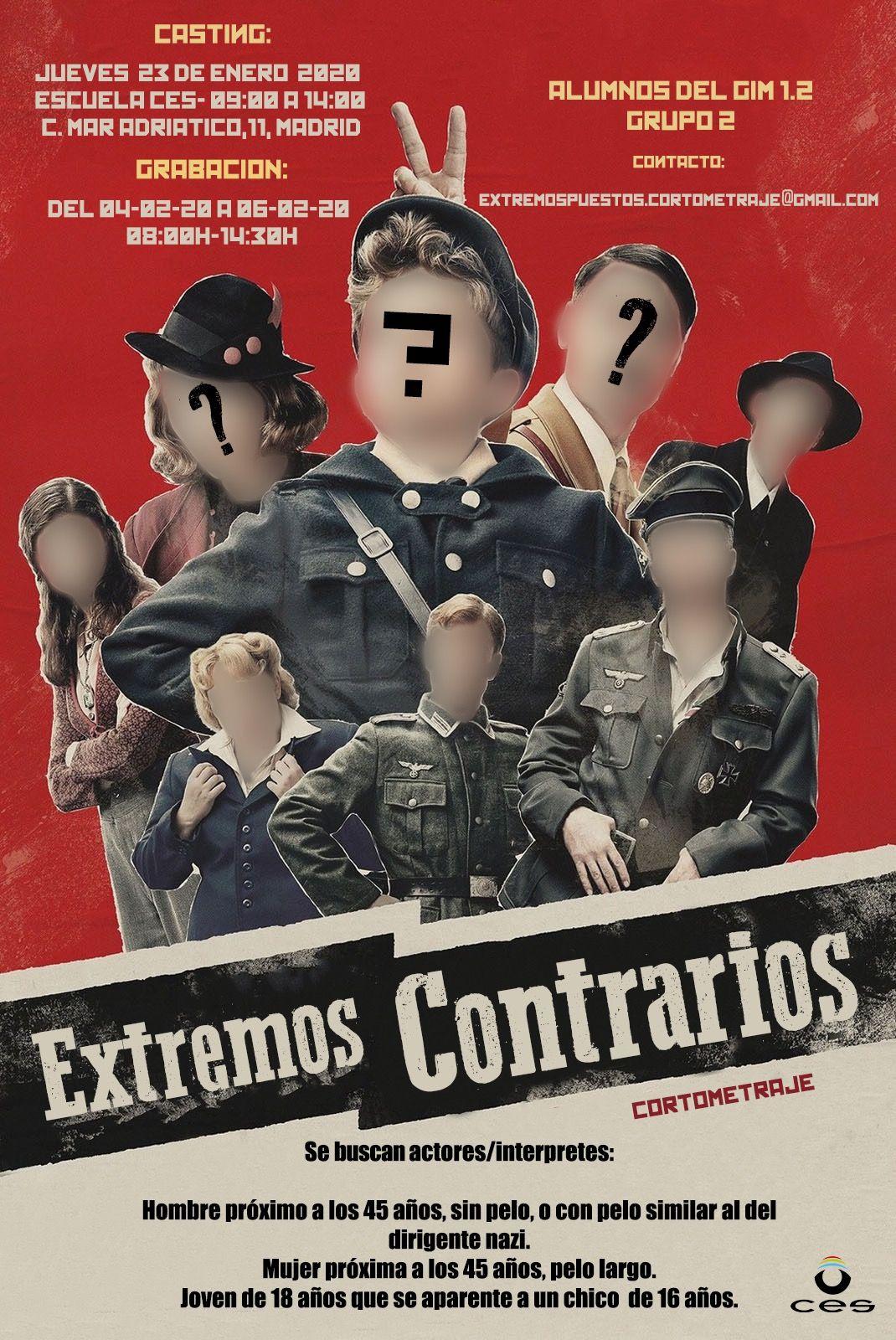 Actores y actrices de 18 a 50 años para Corto «EXTREMOS CONTRARIOS» en Madrid