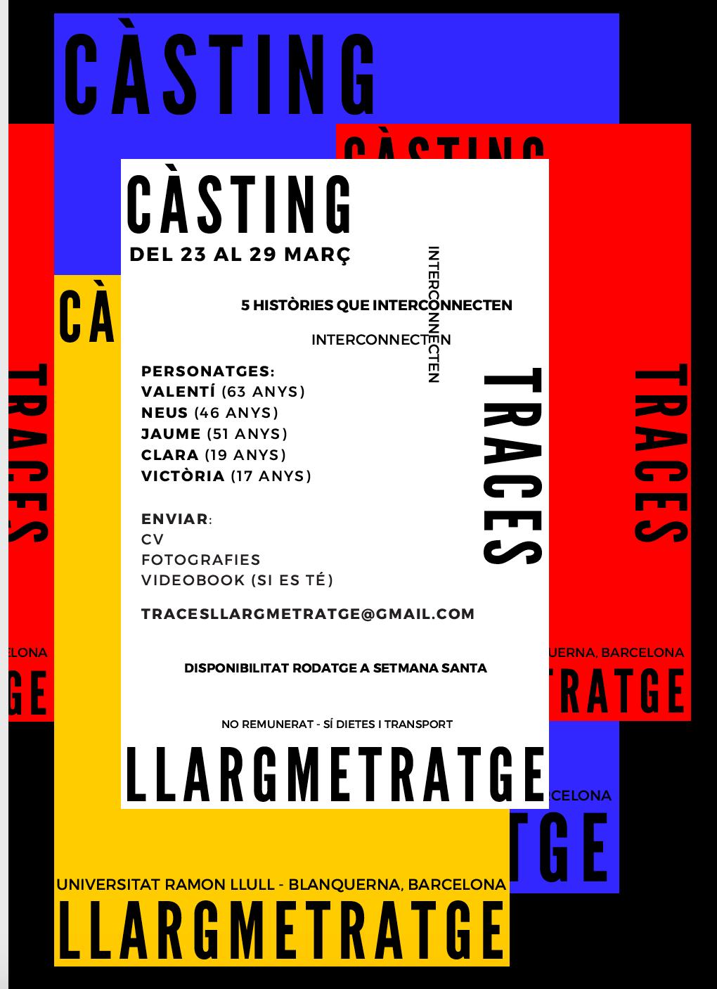Actors i actrius 18 a 60 anys per Teaser de Llargmetratge»TRACES» a BCN