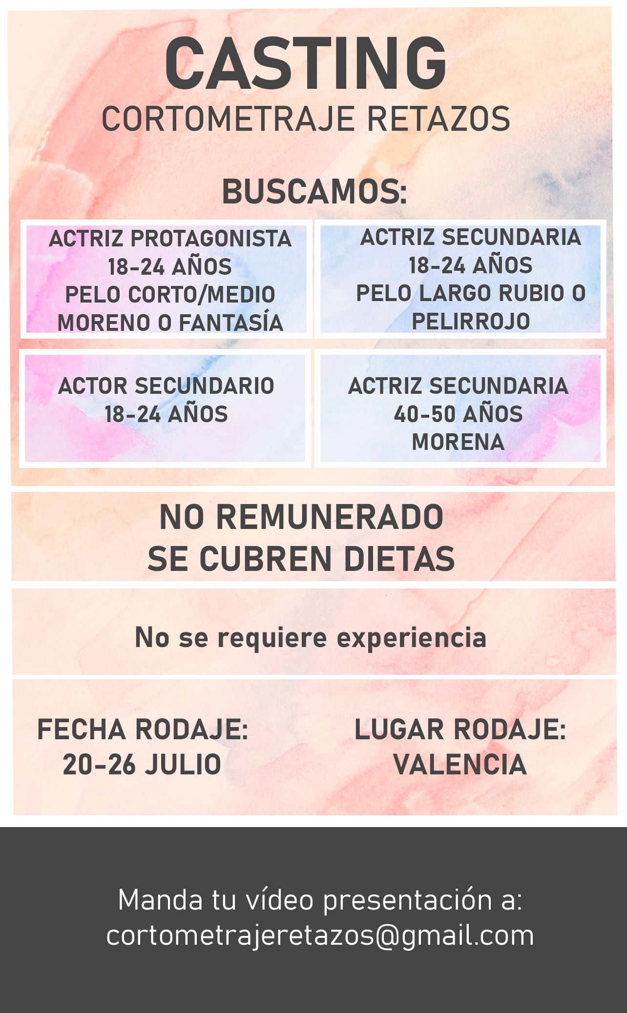 Actrices de 18 a 24 años y de 40 a 50 años para Cortometraje «Retazos» en Valencia
