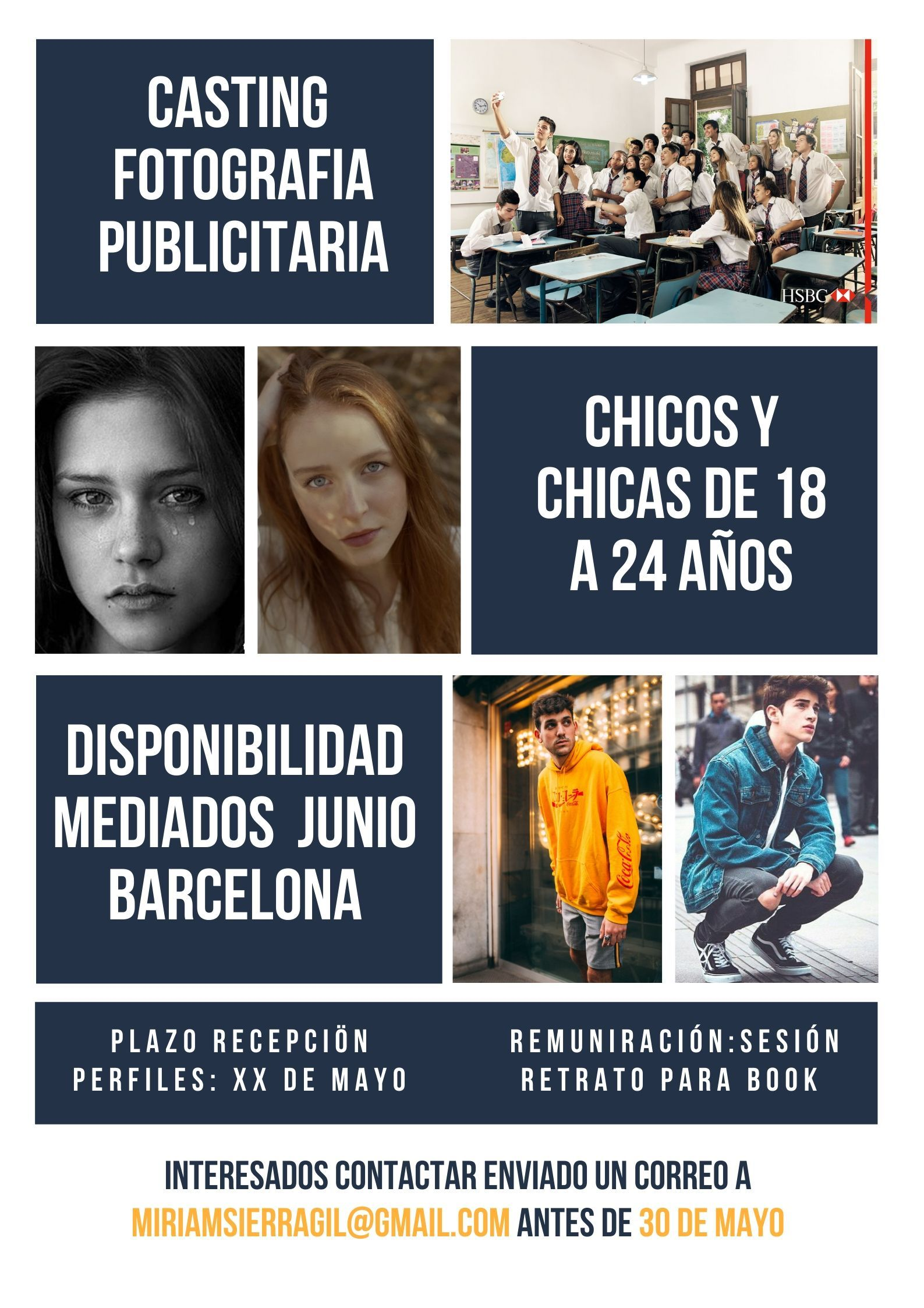 Actores y actrice de 18 a 24 años para Práctica de PUBLICIDAD Univ en BCN