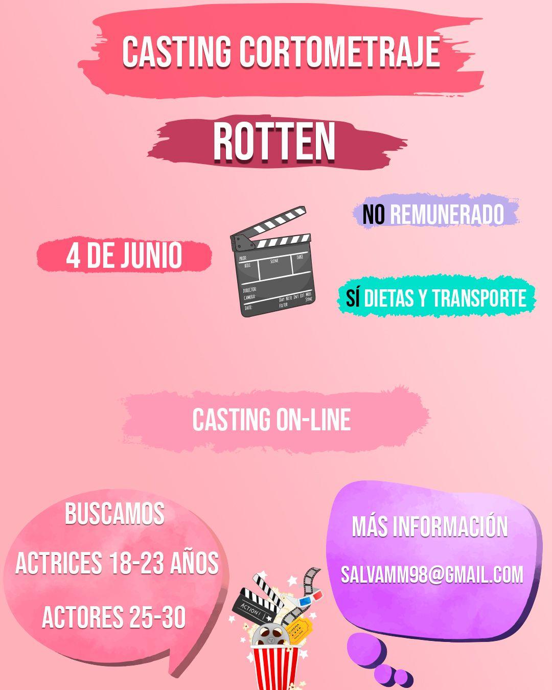 Actrices de 18 a 23 años y actores de 25 a 30 años para Corto en Valencia