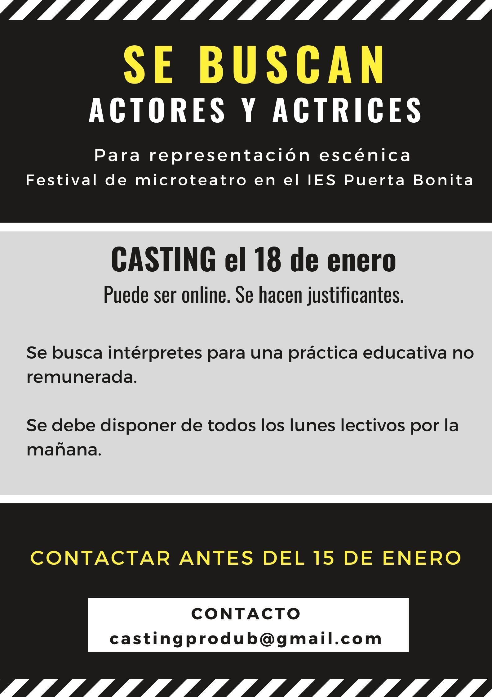 Actores y actrices práctica FESTIVAL MICROTEATROS en Madrid