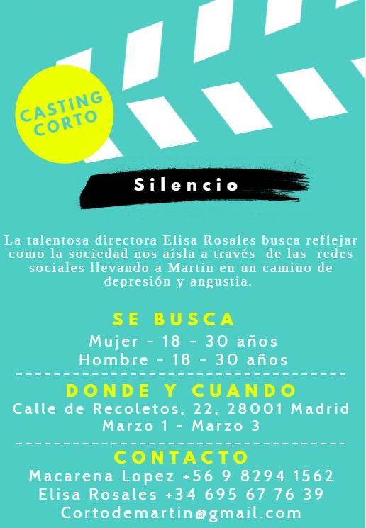 Actor y actriz de 18 a 30 años para Corto «Silencio» en Madrid