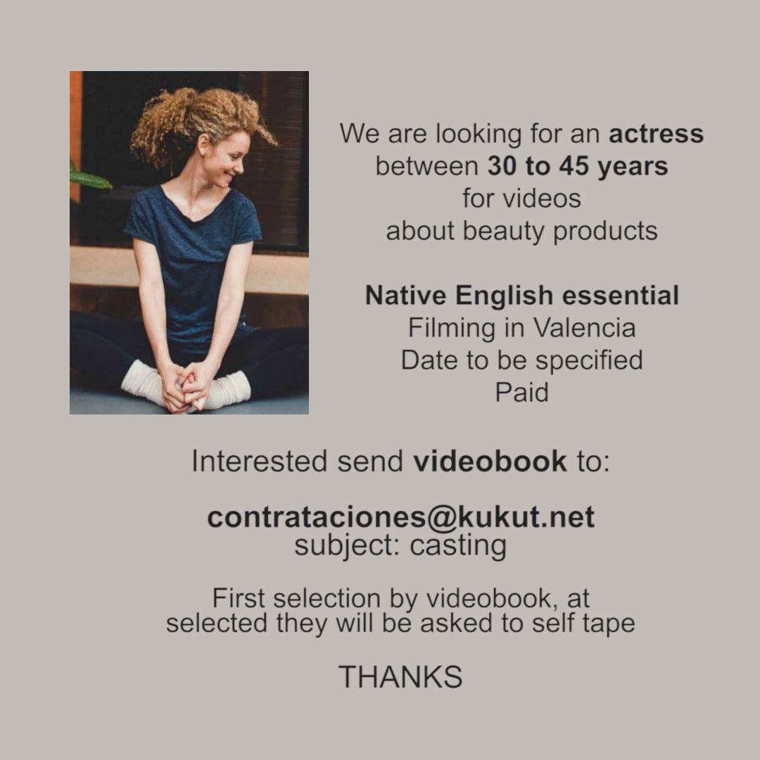 Actriz de 30 a 45 años para vídeos de belleza en Valencia