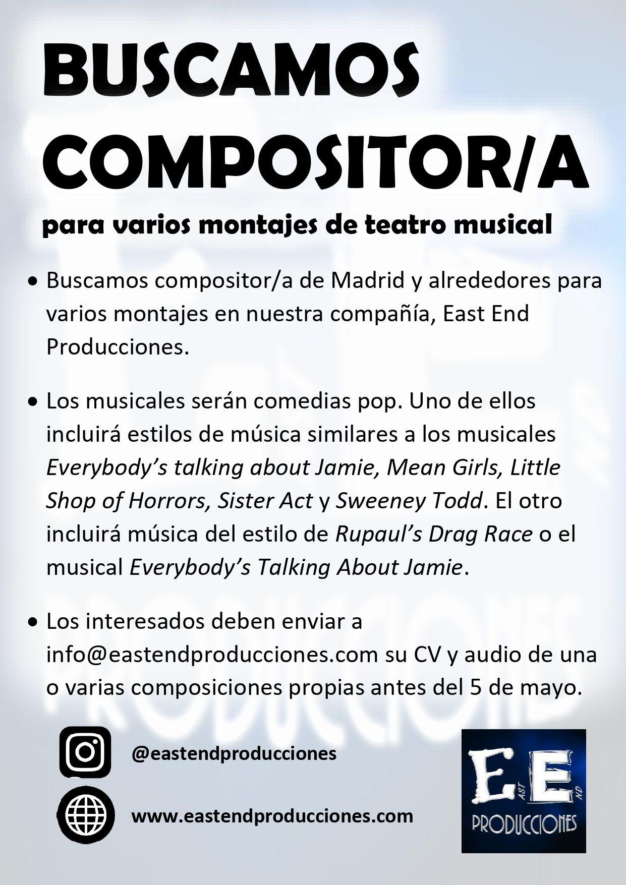 Buscamos COMPOSITOR/A para MUSICALES en Madrid