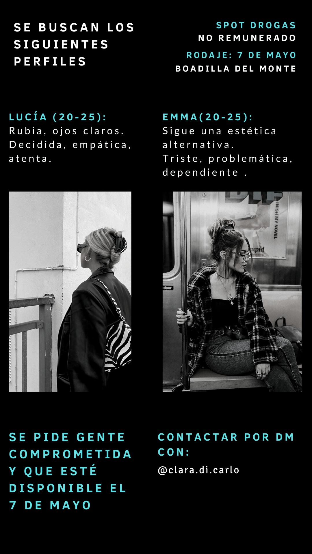 Dos actrices de 18 a 25 años para proycto universitario «SPOT DROGAS» en Madrid