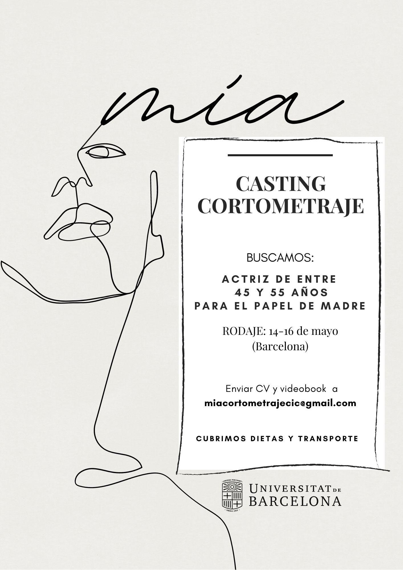 Actriz de 45 a 55 años para CORTOMETRAJE «Mía» en BCN