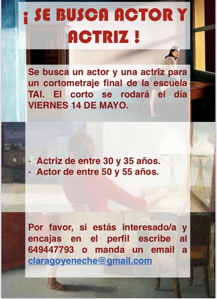 """Actriz 30 a 35 y actor 50 a 55 años para  Corto """"NATALIA"""" en Madrid"""