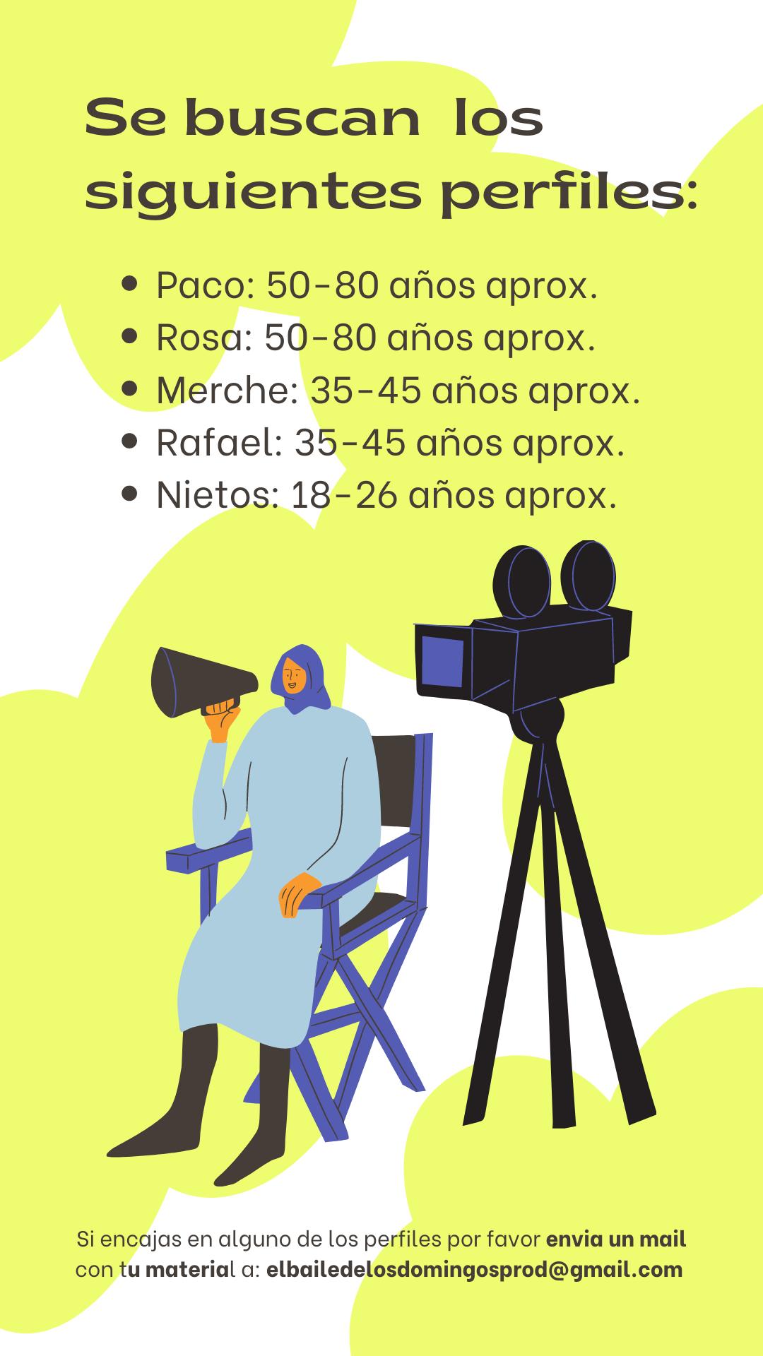 """Varios perfiles de 18 a 70 años para cortometraje """"El Baile de los Domingos"""" en Madrid"""