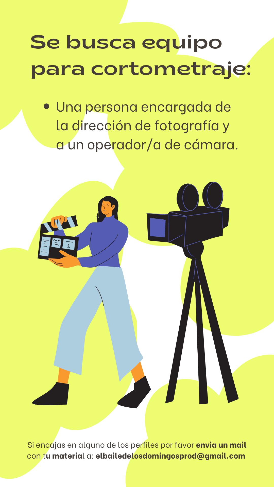 """Equipo técnico para cortometraje """"El Baile de los Domingos"""" en Madrid"""