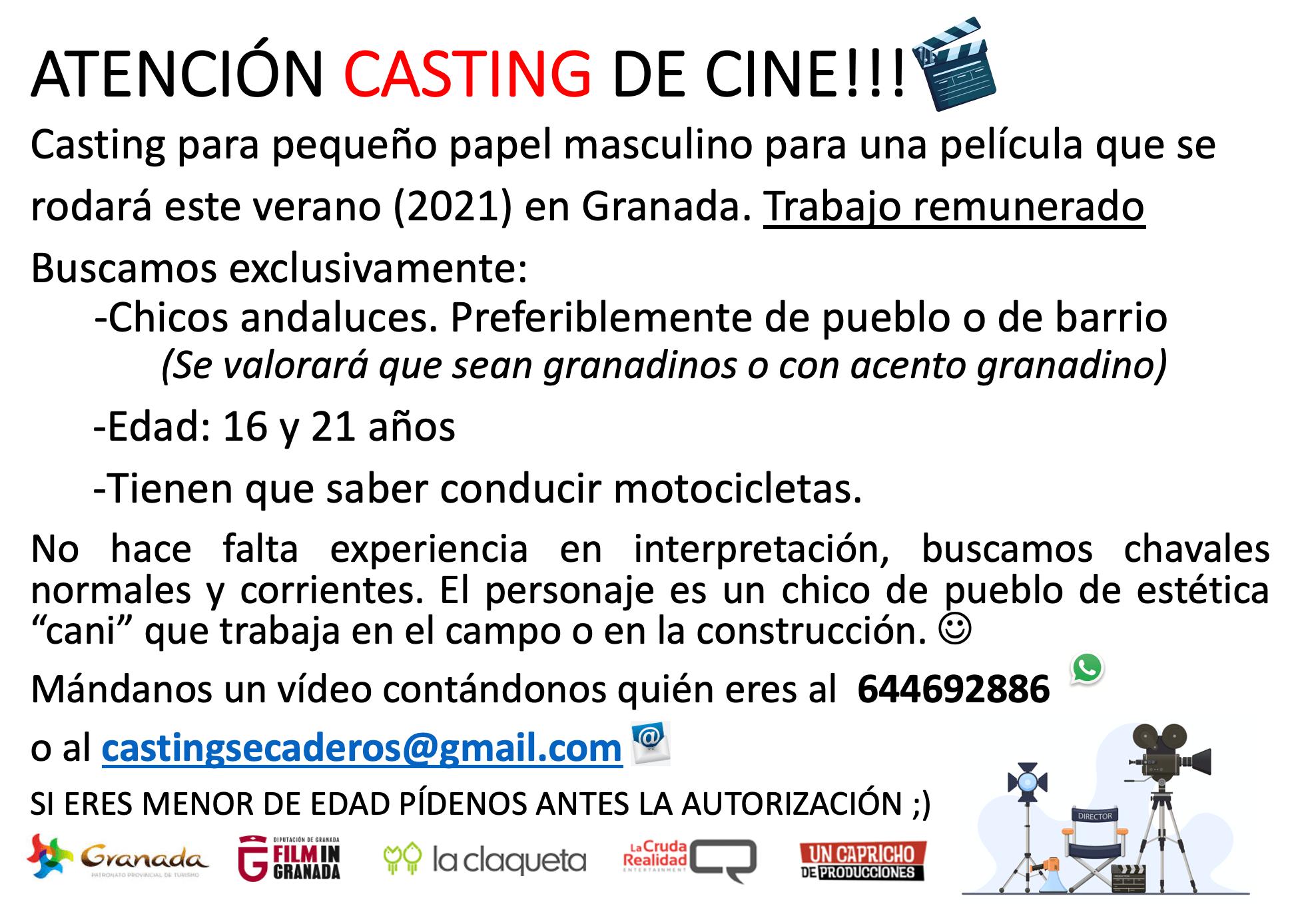 Chico andaluz de 16 a 21 años, que sepa conducir en motocicleta, para rodaje Largometraje en Granada