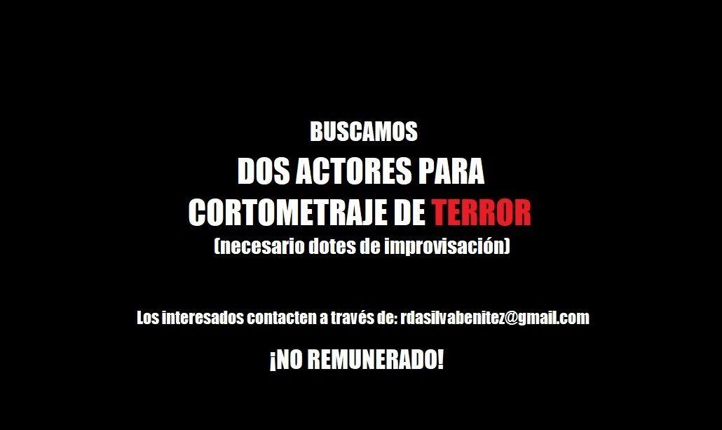 Dos actores masculinos de 18 a 22 años para Cortometraje de terror en Málaga